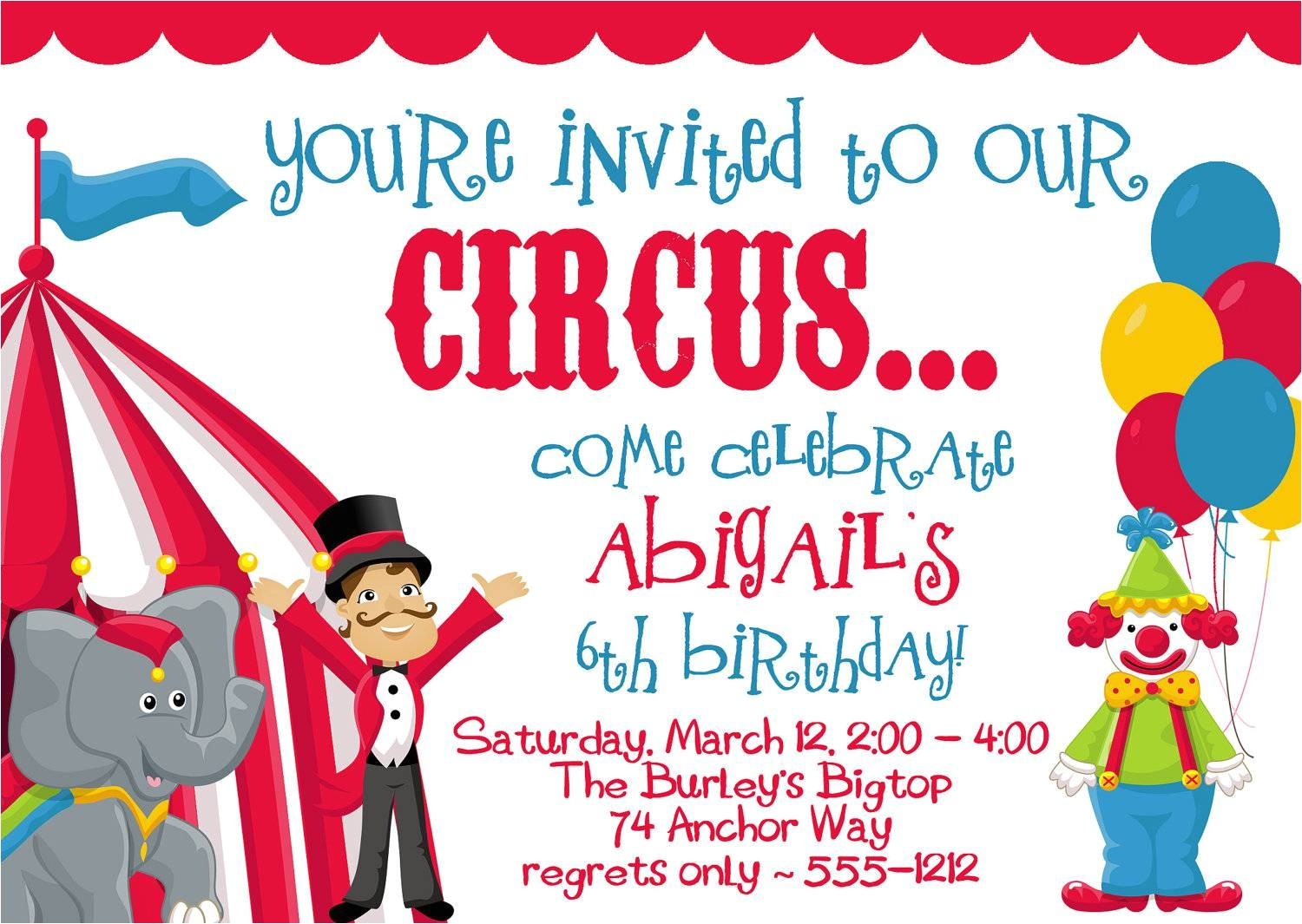 circus party invitations