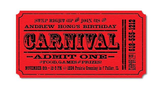 carnival birthday invitations
