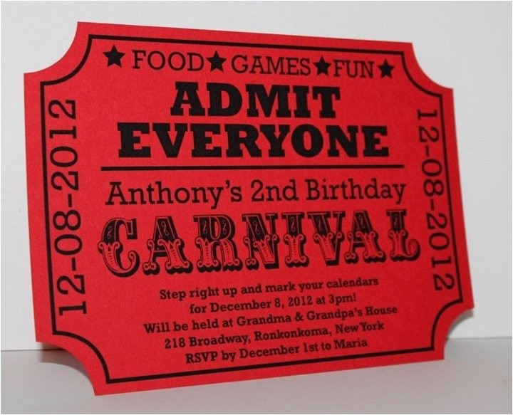 Carnival Ticket Birthday Party Invitations Carnival Birthday Ticket Invitation