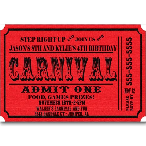 carnival ticket birthday party