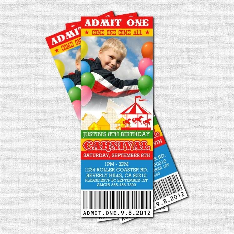 carnival ticket invitations circus