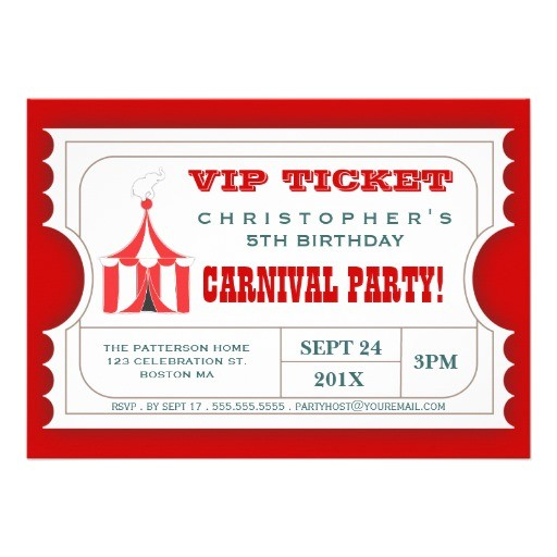 circus ticket style invitation template