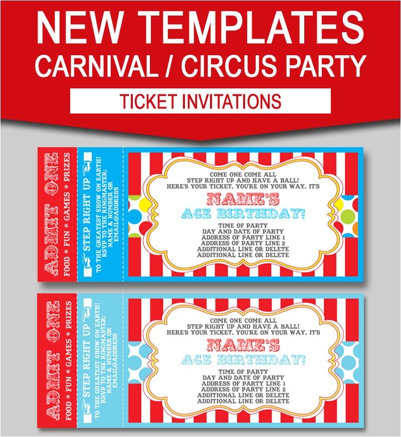 editable carnival ticket invitations new