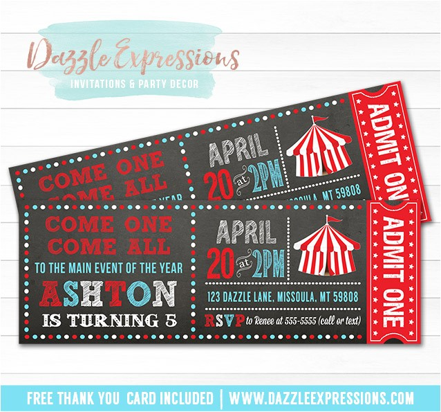 circus chalkboard ticket invitation 2 free thank you card included