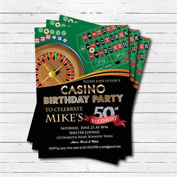 casino 50th birthday invitation adult