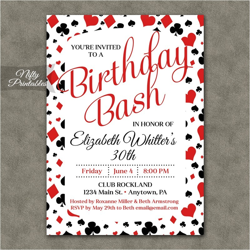 casino poker birthday invitation