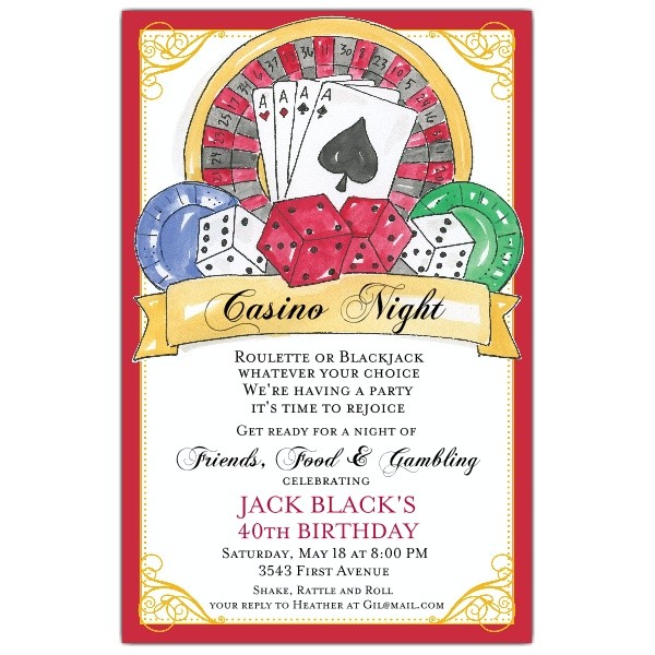 casino birthday invitations p 622 58 440ev