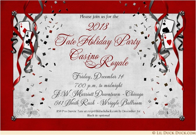 casino royale holiday party invitations