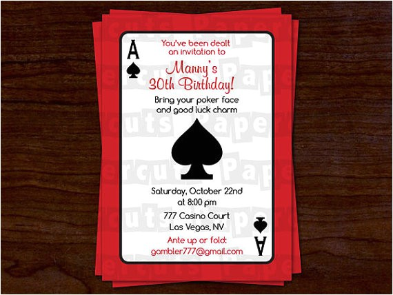 casino birthday party invitations ideas