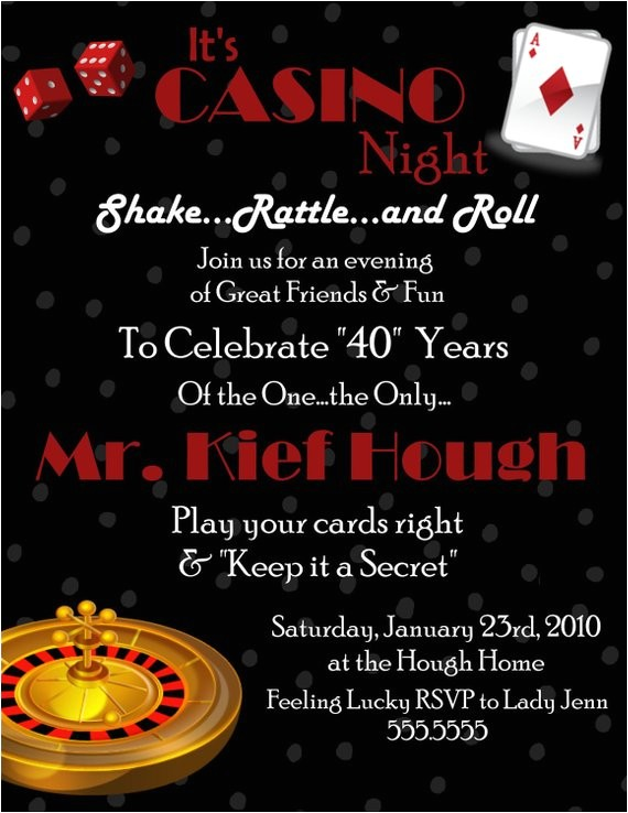 casino digital birthday invitation