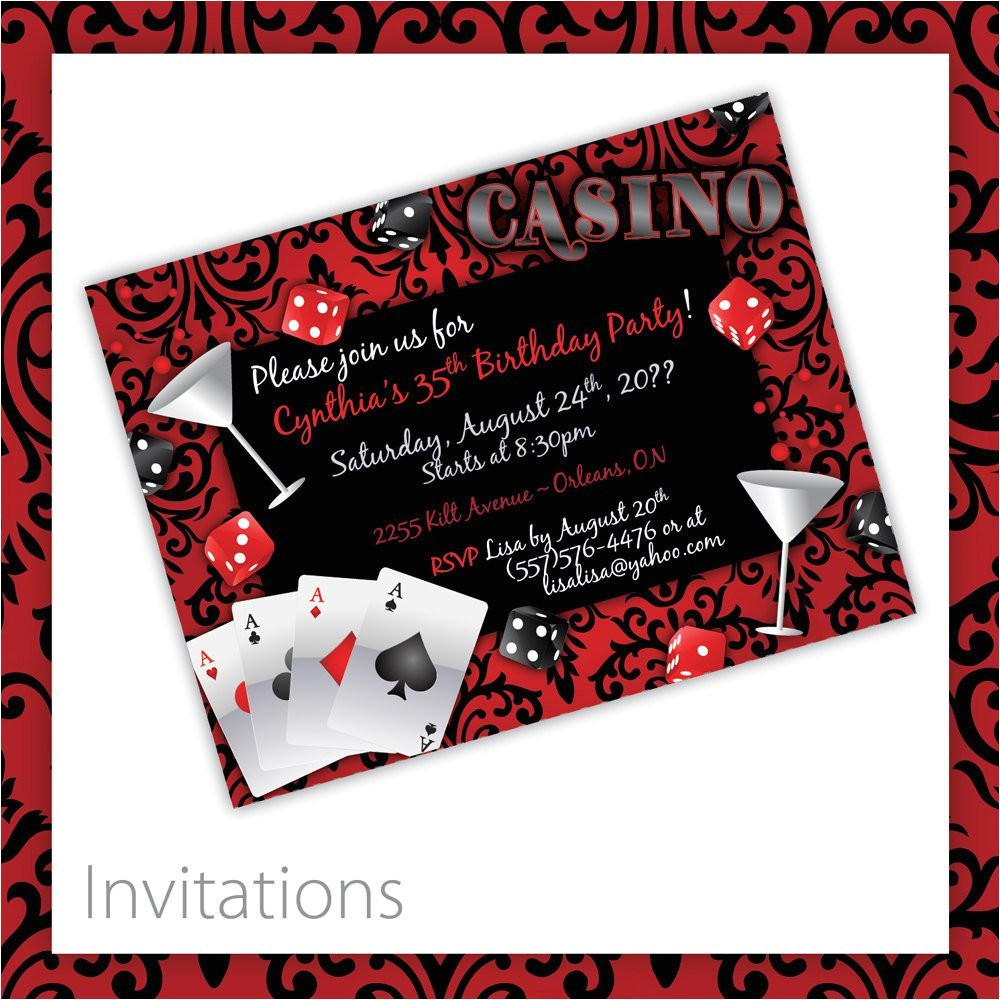 casino party invitations casino blush