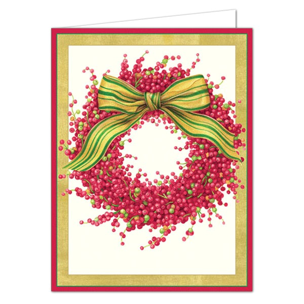 caspari berry wreath boxed christmas cards p 9 85201 boxed