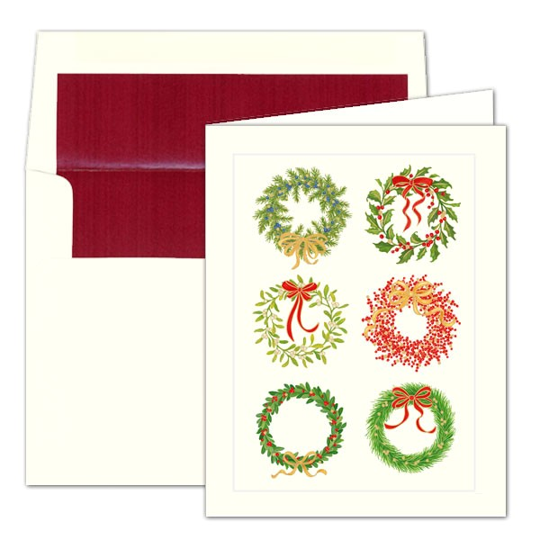 caspari christmas wreaths foil christmas cards p 9 87314