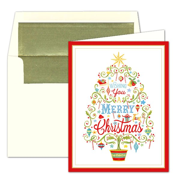 caspari merry christmas tree foil christmas cards p 9 87316
