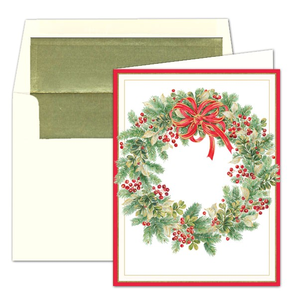 caspari personalized wintergreen wreath christmas cards p 9 87304