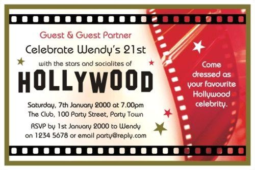 hollywood birthday invitation template