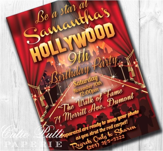 hollywood party invitations printable