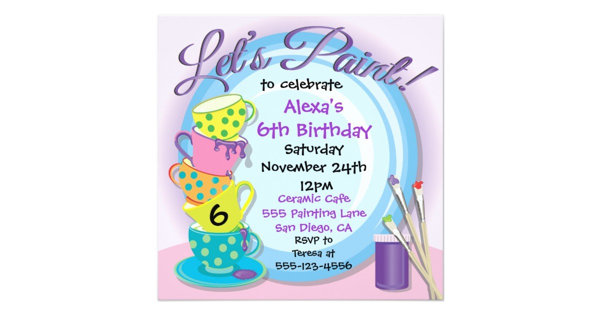 ceramic pottery painting party invitations 161128006591620215