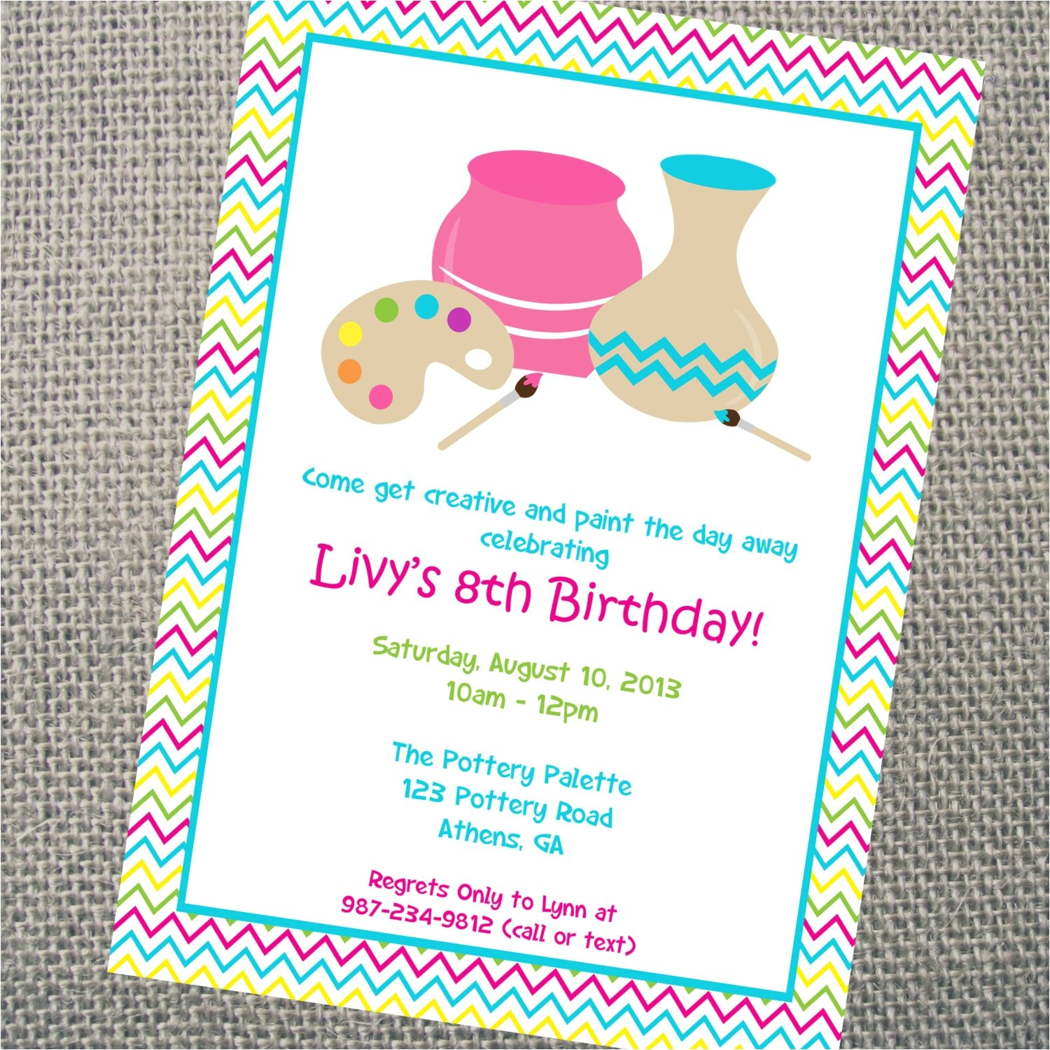 custom printable pottery party
