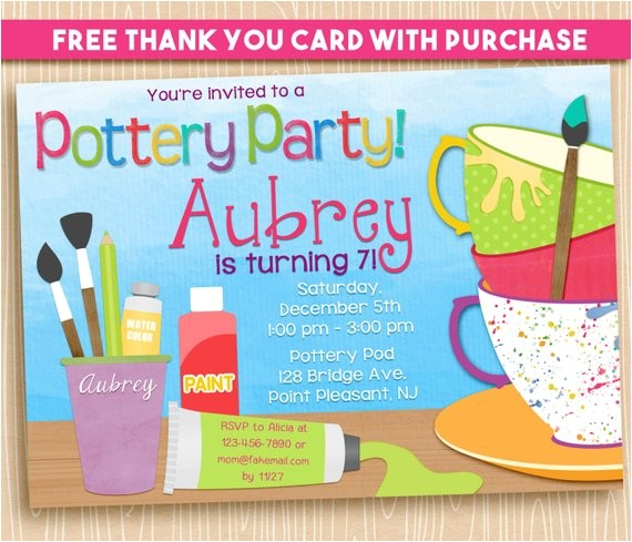 pottery party invitation birthday