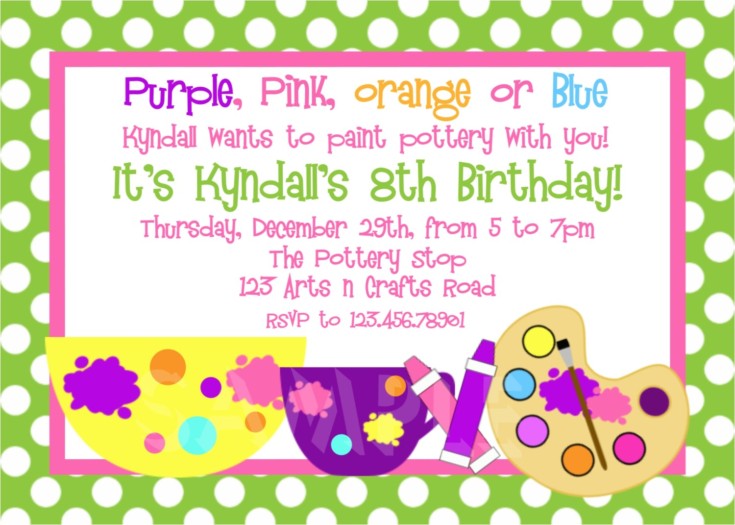 pottery arts and crafts birthday party invitation