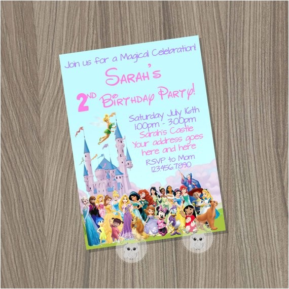 disney birthday invitation disney girl
