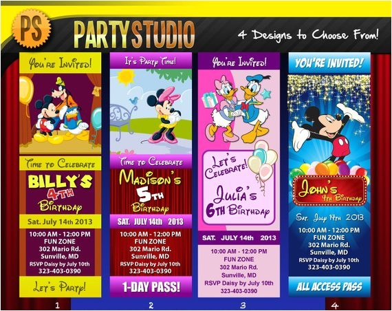 disney character birthday party ticket