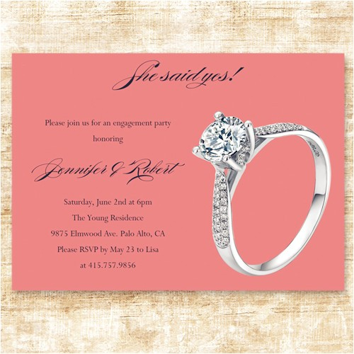 simple cheap coral ring engagement party invitation cards ewei020