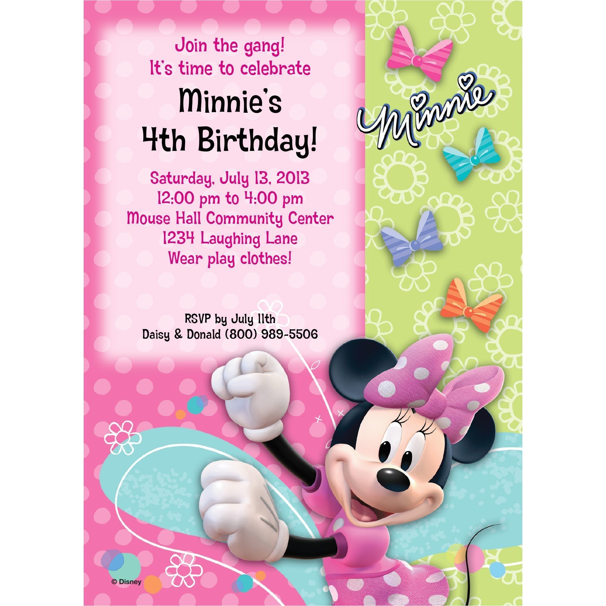 minnie mouse personalized invitation each