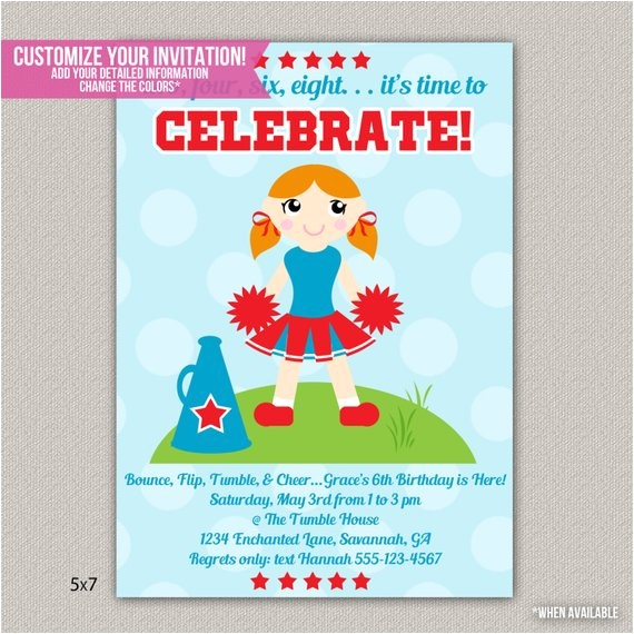 cheerleading kids birthday invitation