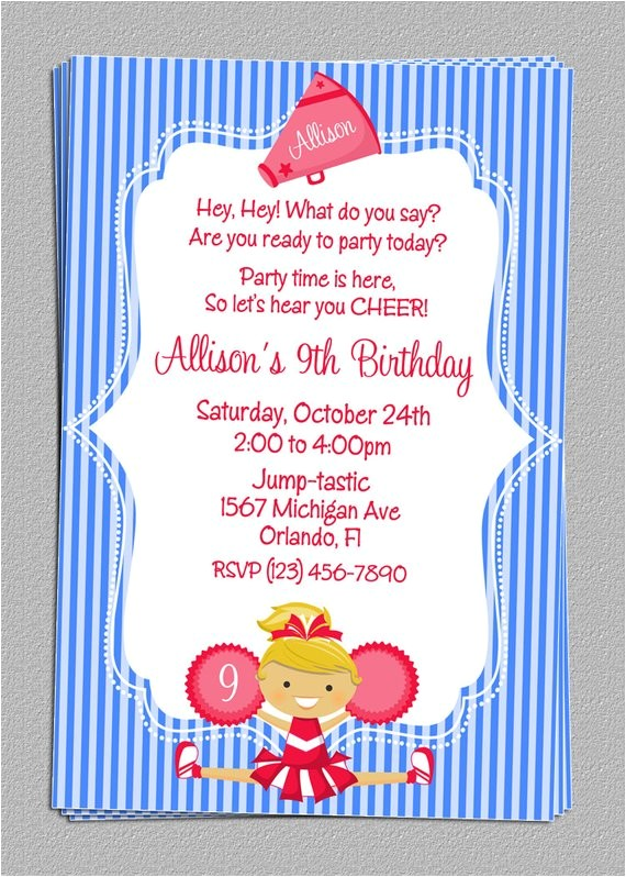 Cheerleading Birthday Party Invitations Custom Cheer Cheerleading Party Birthday Invitations Diy