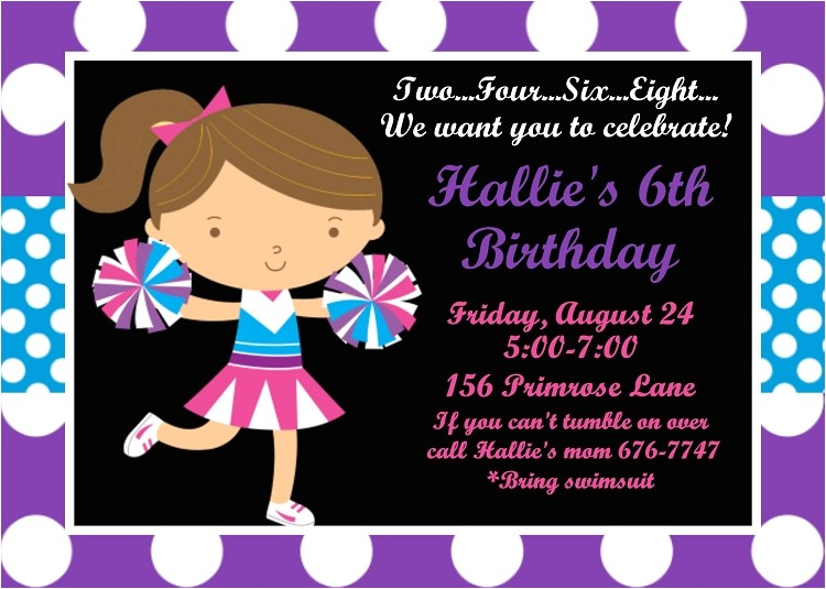 purple and blue cheerleading birthday invitations p 2146