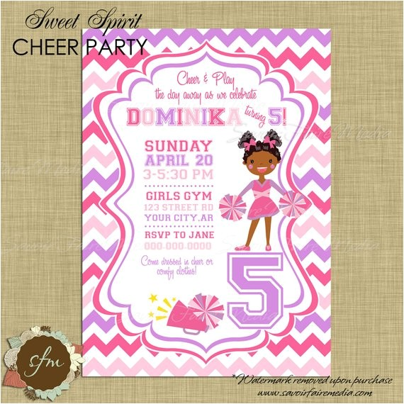 cheerleading invitation cheerleader cheer invite birthday
