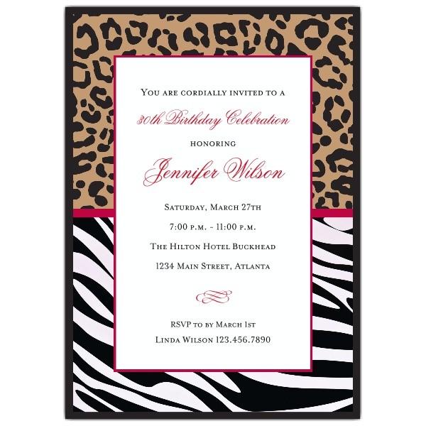 cheetah and zebra birthday party invitations p 615 57 128