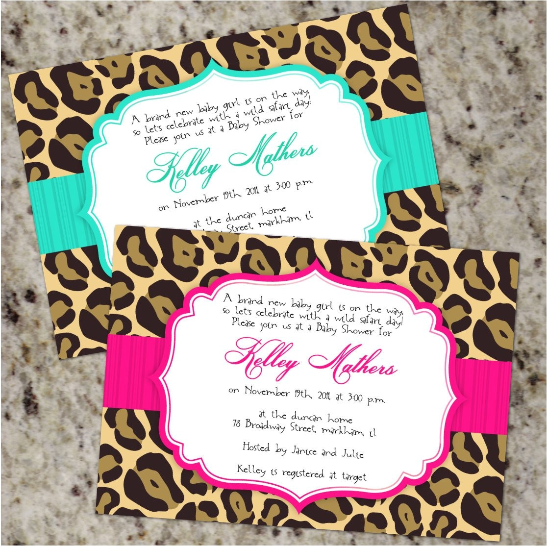 chic leopard invitations baby shower or