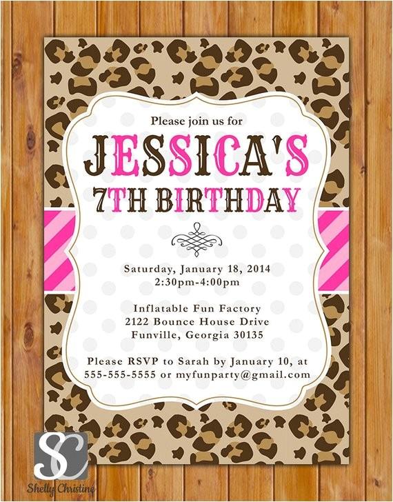 leopard print birthday party invite pink