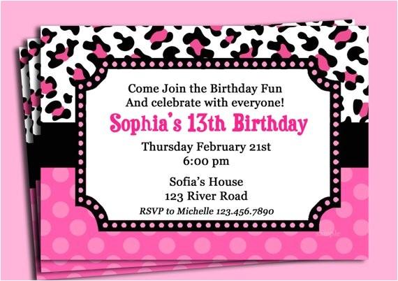 pink cheetah print polka dot invitation