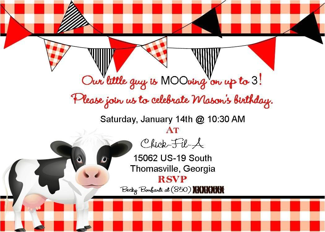 cow birthday invitations