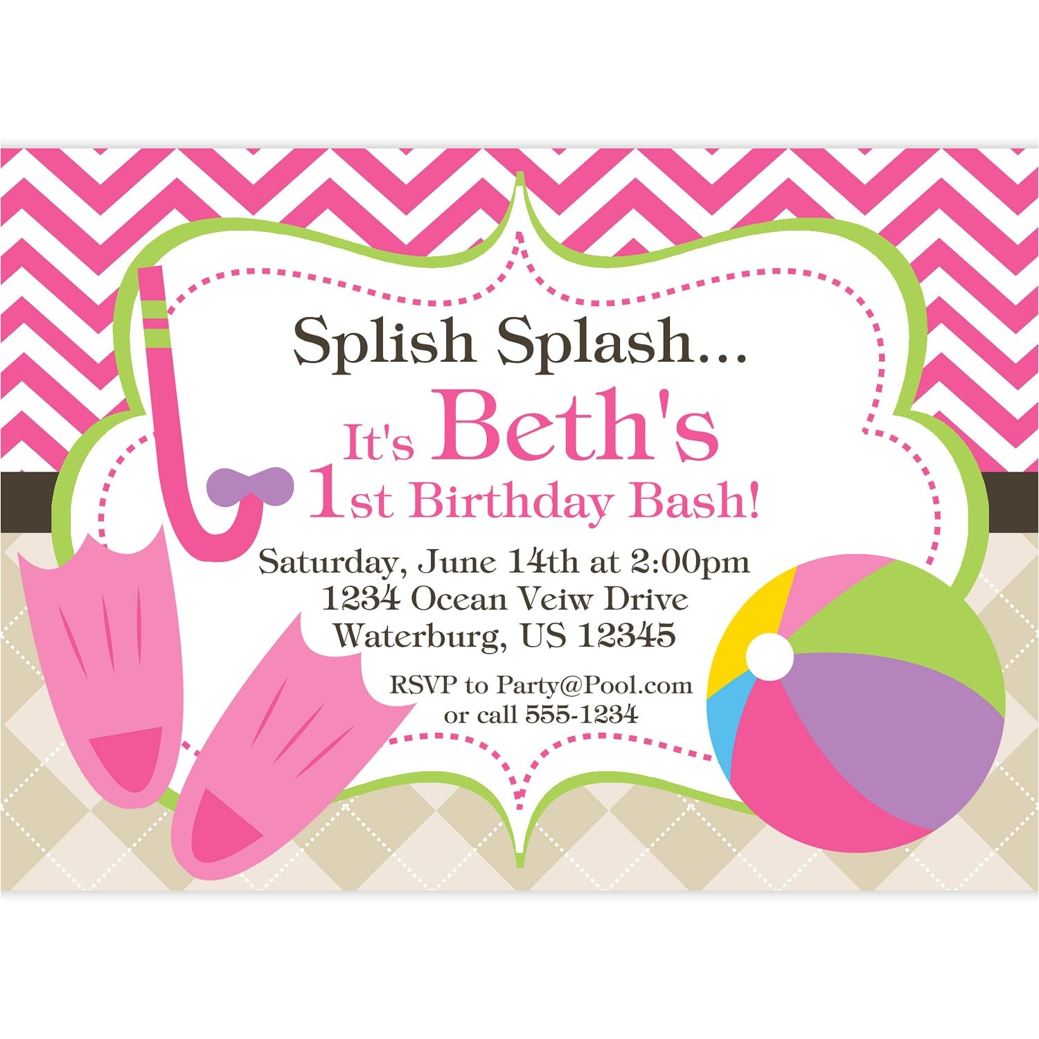 child pool party invitation template free