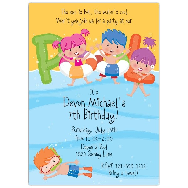 pool party kids pool invitations p 643 57 936
