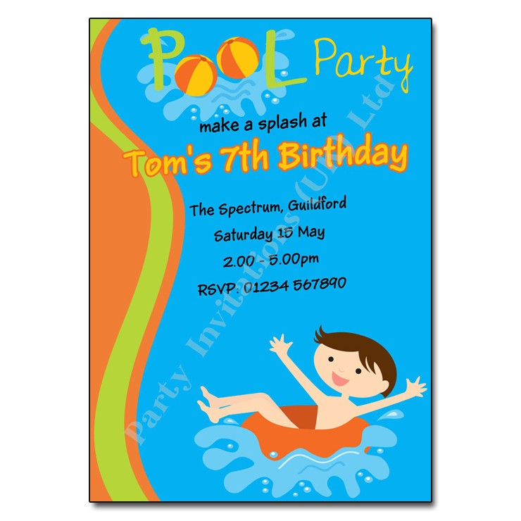 pool swimming party invitation