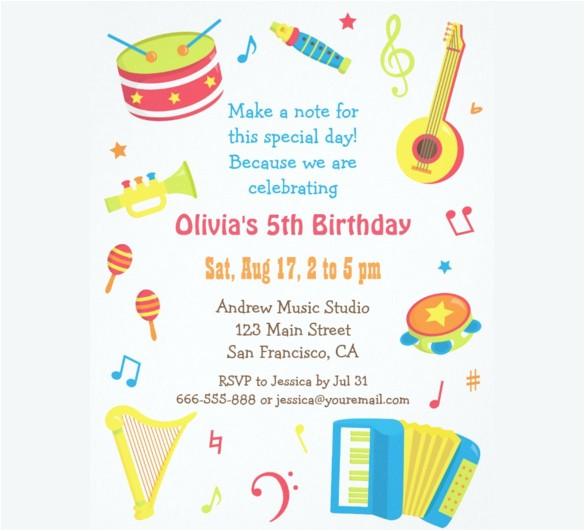 sample kids birthday invitation