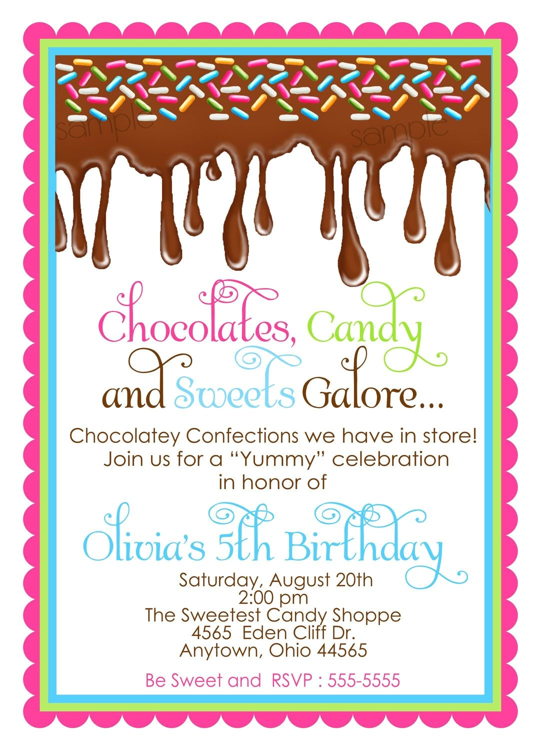 chocolate candy invitations ooey gooey