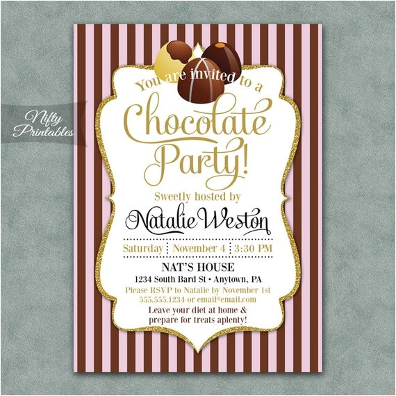 chocolate party invitations printable