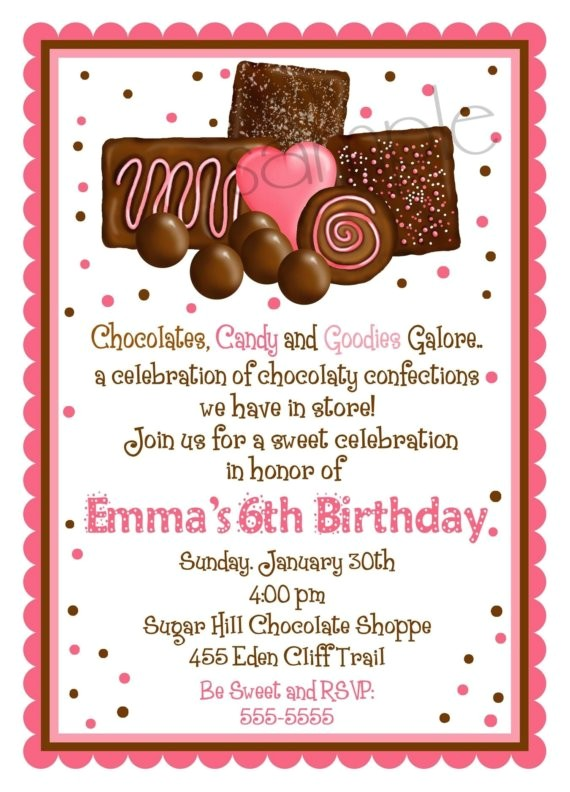 chocolate theme invitations for a birthday party