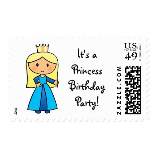 cartoon clipart cute blond princess birthday party postage 172859376675220675