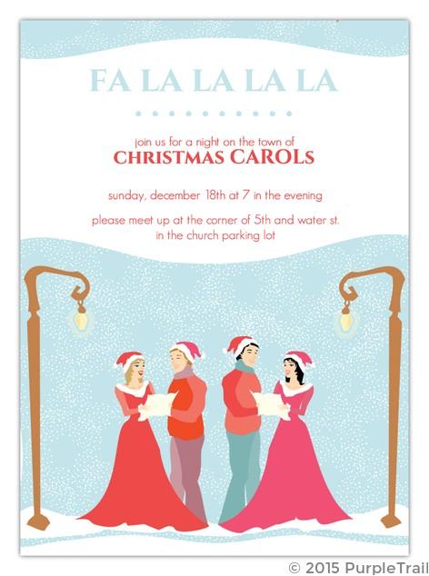 christmas carolers holiday party invitation