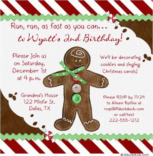 gingerbread holiday birthday invitation