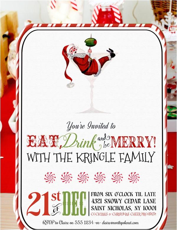 retro santa christmas cocktail party invitation