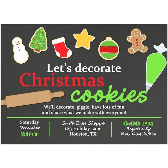 christmas cookie invitation printable printed free